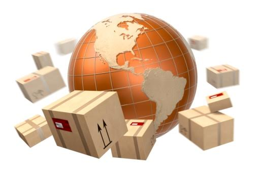 Packages orbit a globe with America